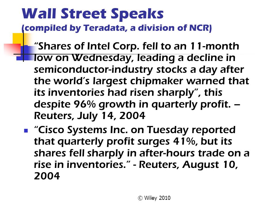 Wall Street Speaks (compiled by Teradata, a division of NCR)