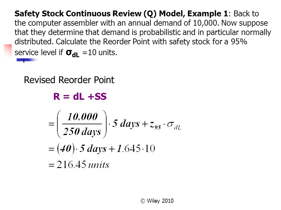 Revised Reorder Point R = dL +SS