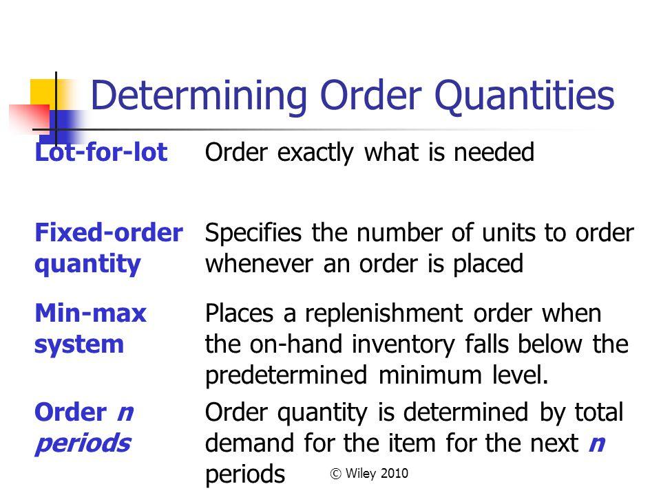 Determining Order Quantities