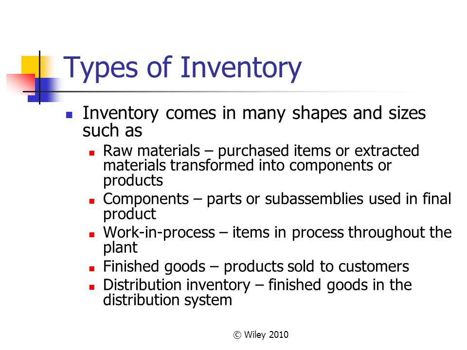Types of Inventory Inventory comes in many shapes and sizes such as