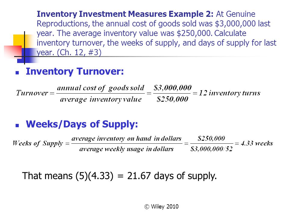 That means (5)(4.33) = 21.67 days of supply.