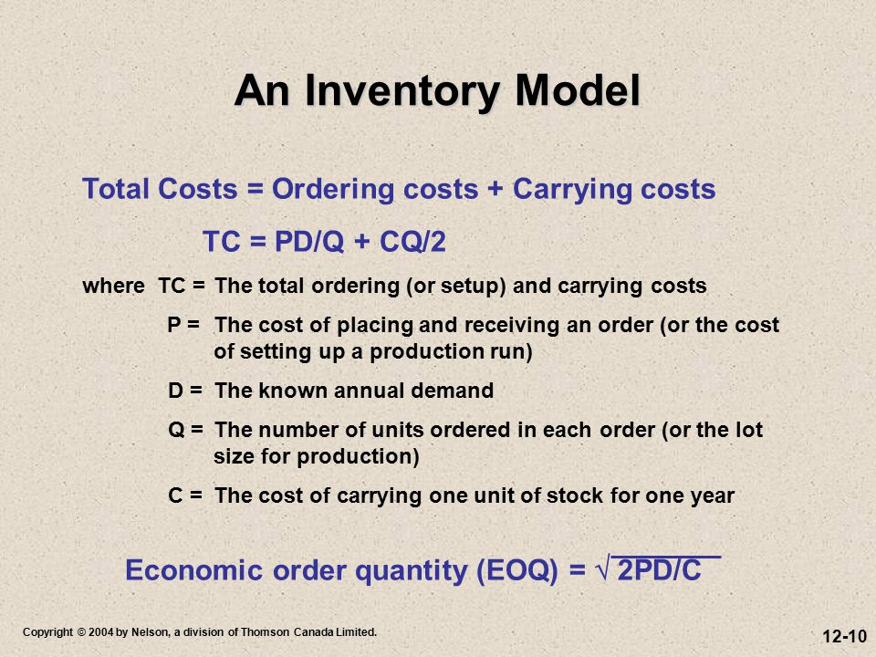 An Inventory Model Total Costs = Ordering costs + Carrying costs