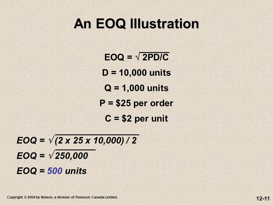 An EOQ Illustration EOQ =  2PD/C D = 10,000 units Q = 1,000 units