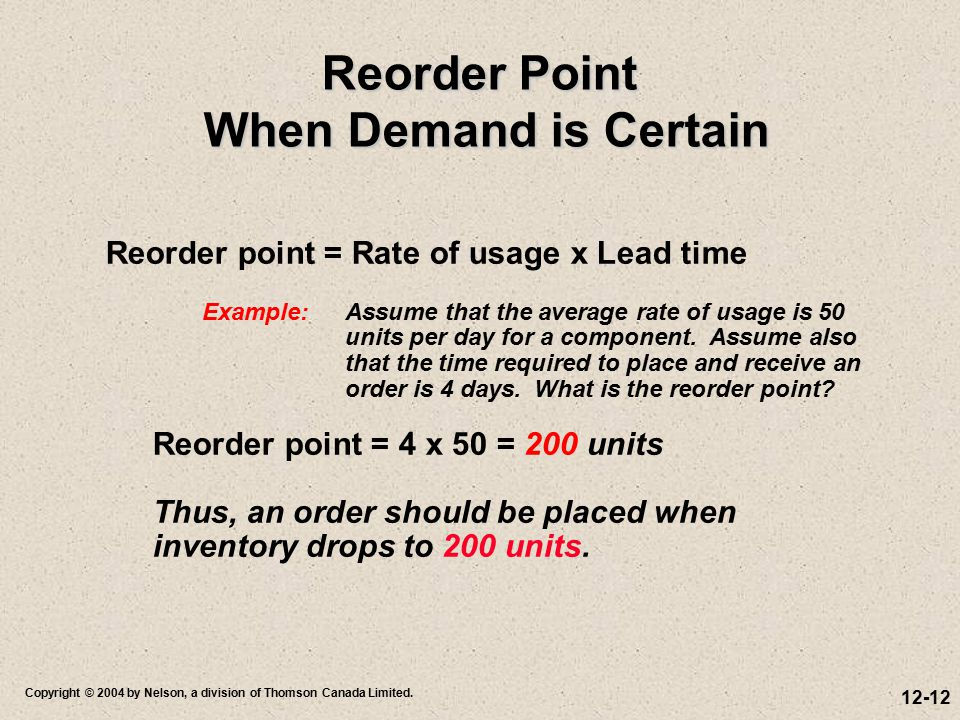 Reorder Point When Demand is Certain