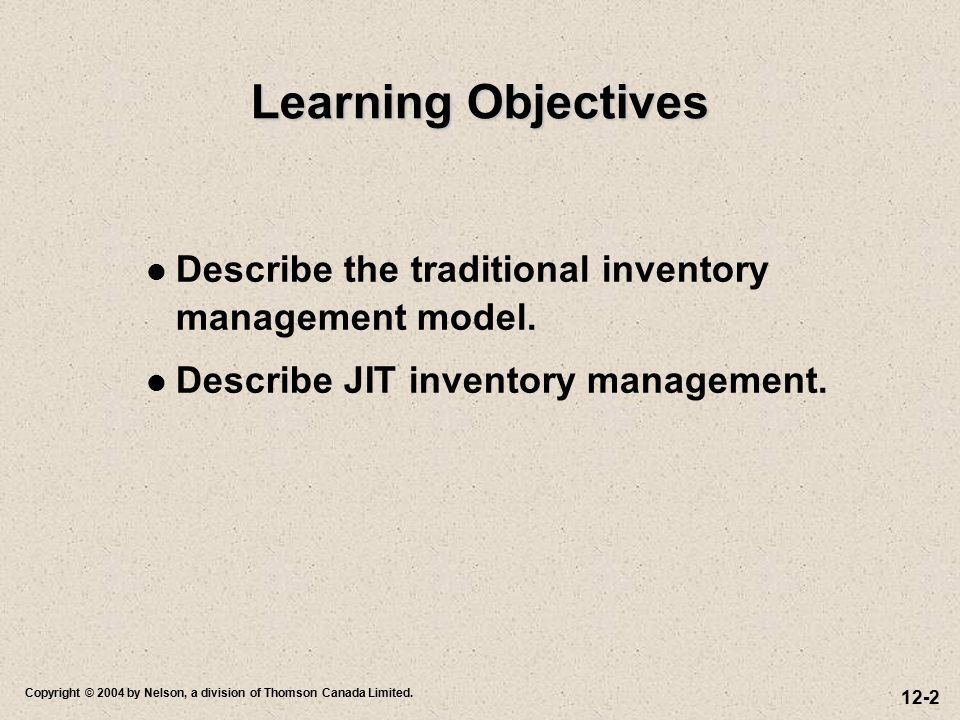 Learning Objectives Describe the traditional inventory management model.