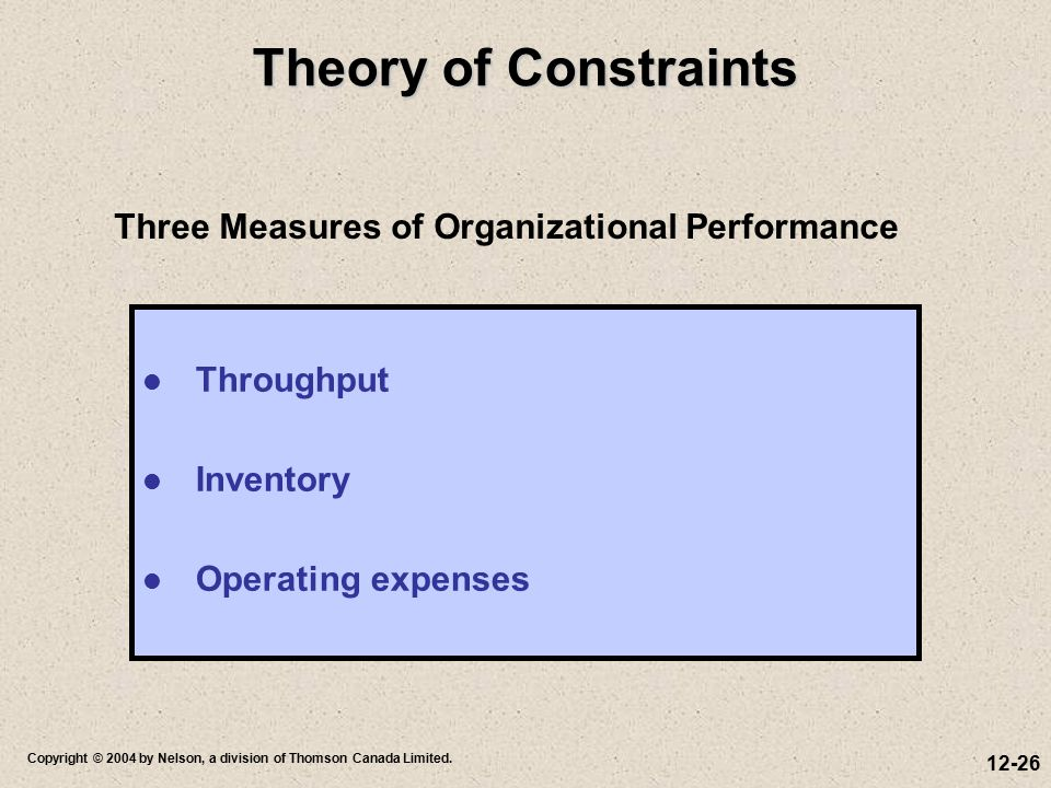 Theory of Constraints Three Measures of Organizational Performance