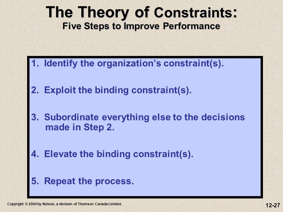 The Theory of Constraints: Five Steps to Improve Performance