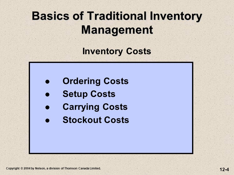Basics of Traditional Inventory Management