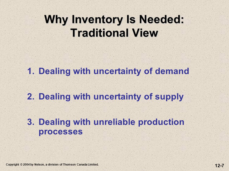 Why Inventory Is Needed: Traditional View