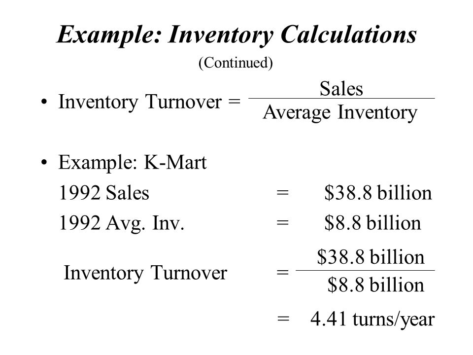 Example: Inventory Calculations
