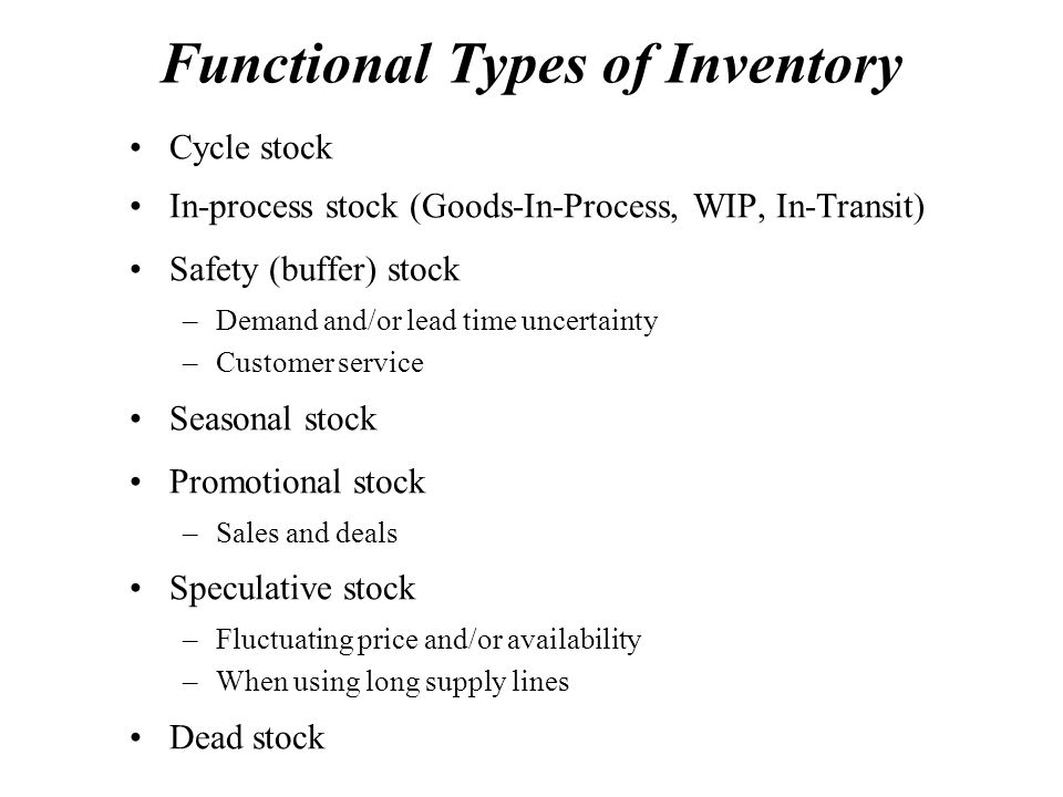 Functional Types of Inventory