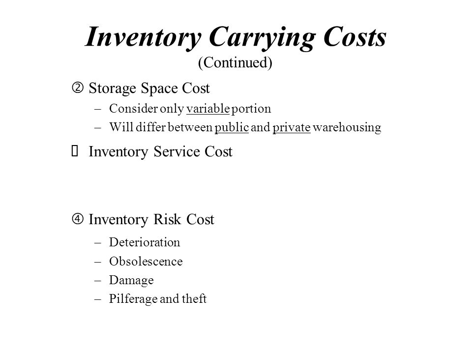 Inventory Carrying Costs