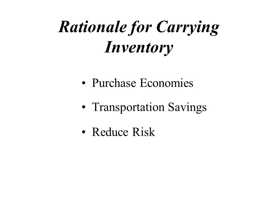 Rationale for Carrying Inventory