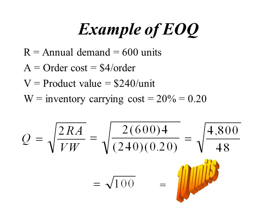 Example of EOQ 10 units R = Annual demand = 600 units
