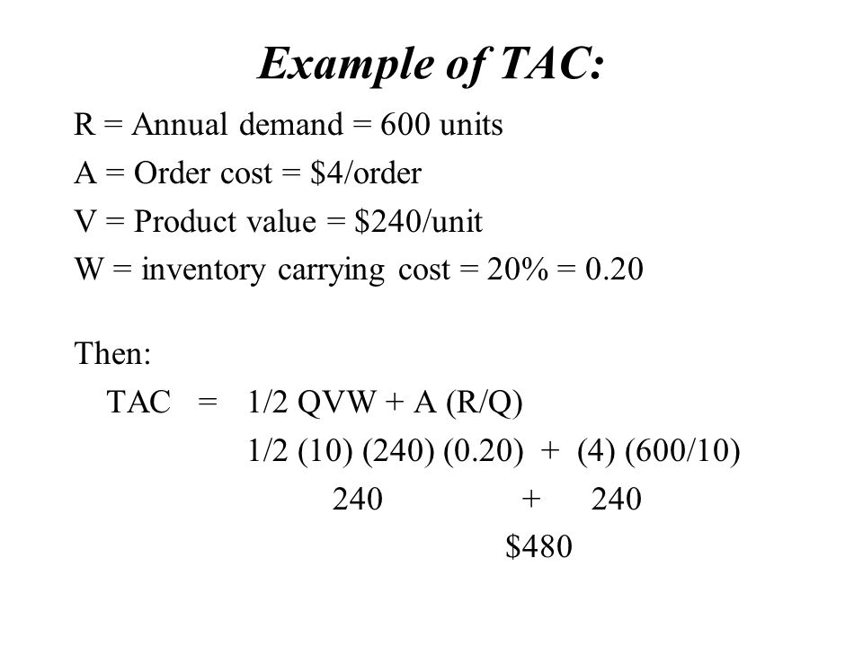 Example of TAC: R = Annual demand = 600 units