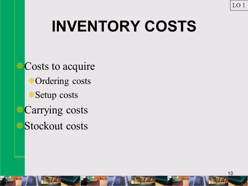 INVENTORY COSTS Costs to acquire Carrying costs Stockout costs