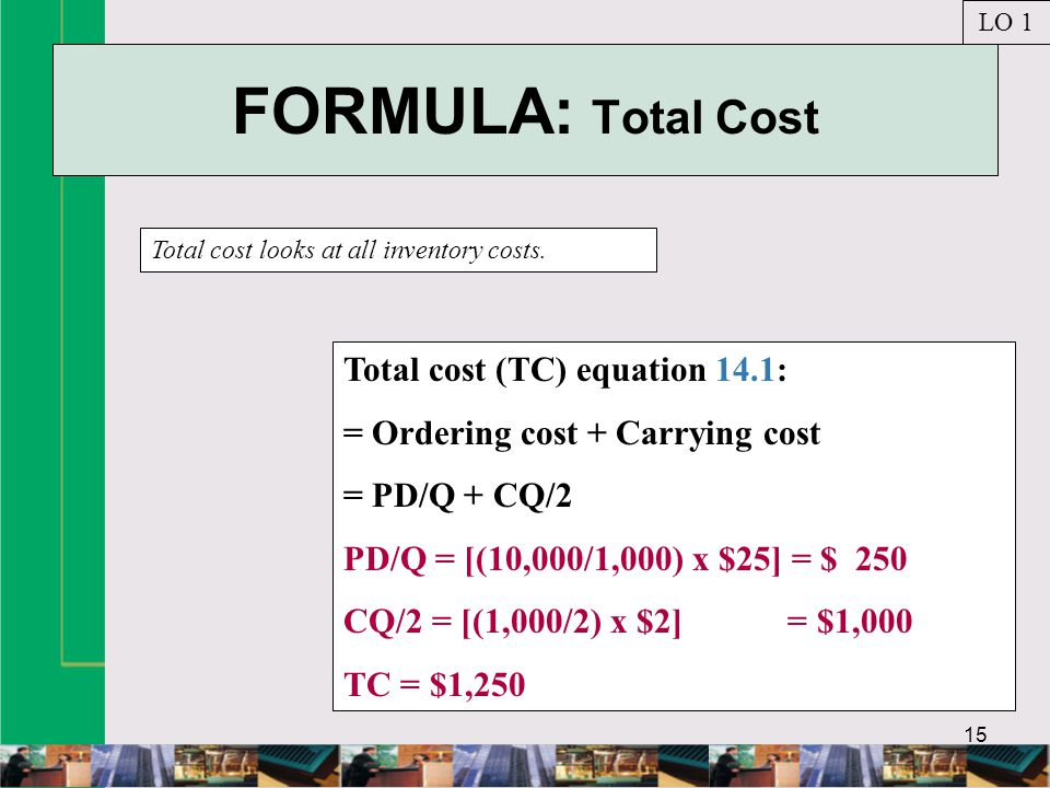 FORMULA: Total Cost Total cost (TC) equation 14.1: