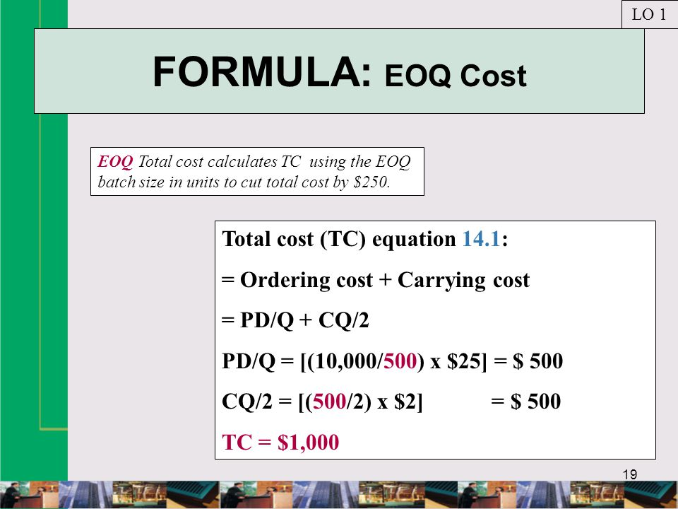 FORMULA: EOQ Cost Total cost (TC) equation 14.1: