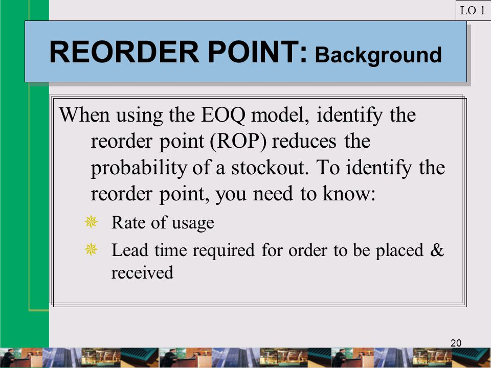 REORDER POINT: Background