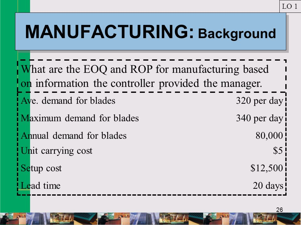 MANUFACTURING: Background