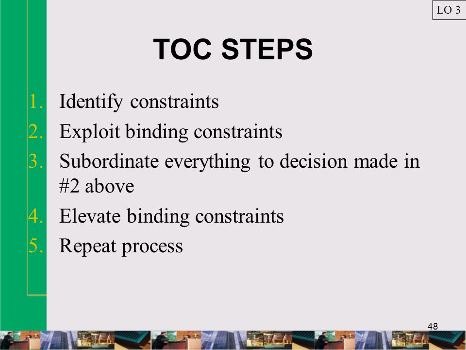 TOC STEPS Identify constraints Exploit binding constraints