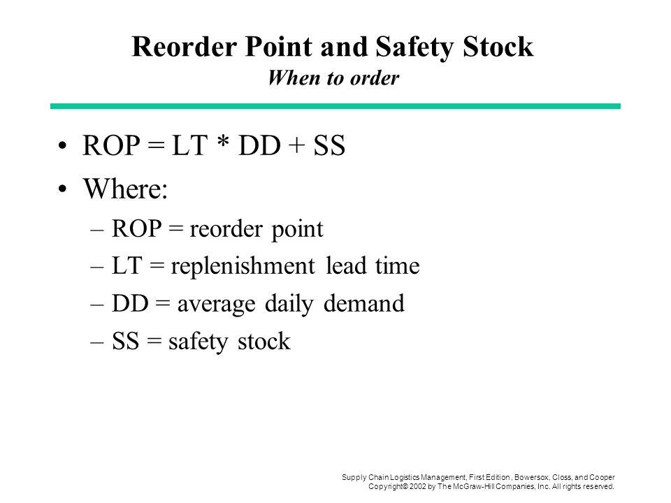 Reorder Point and Safety Stock When to order