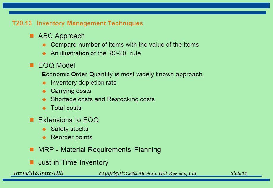 T20.13 Inventory Management Techniques