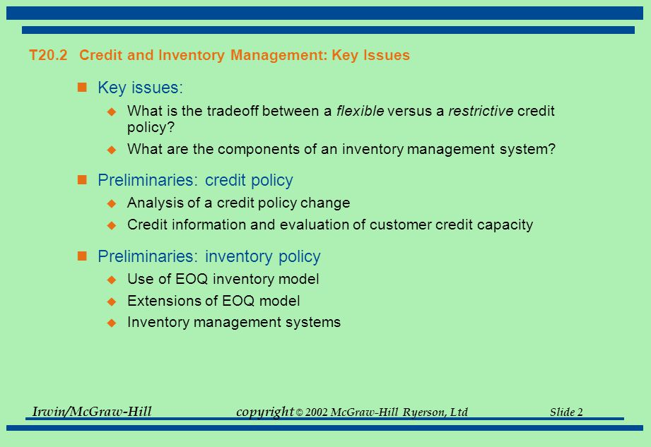 T20.2 Credit and Inventory Management: Key Issues