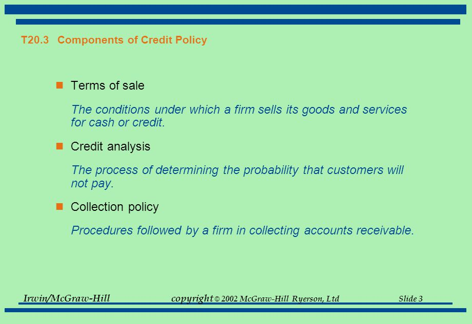 T20.3 Components of Credit Policy