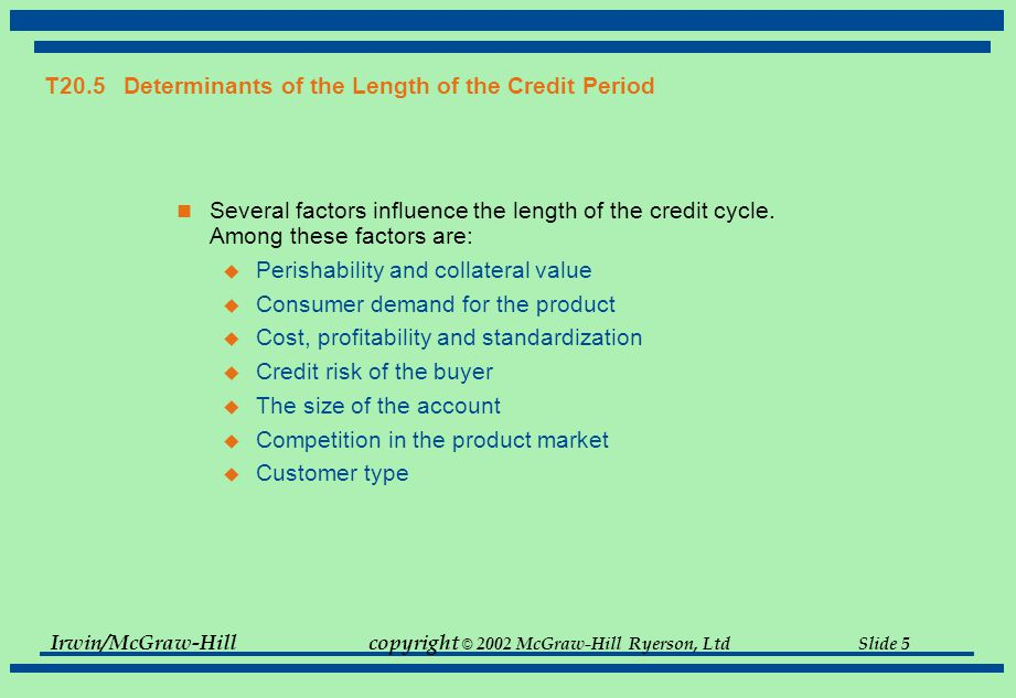 T20.5 Determinants of the Length of the Credit Period