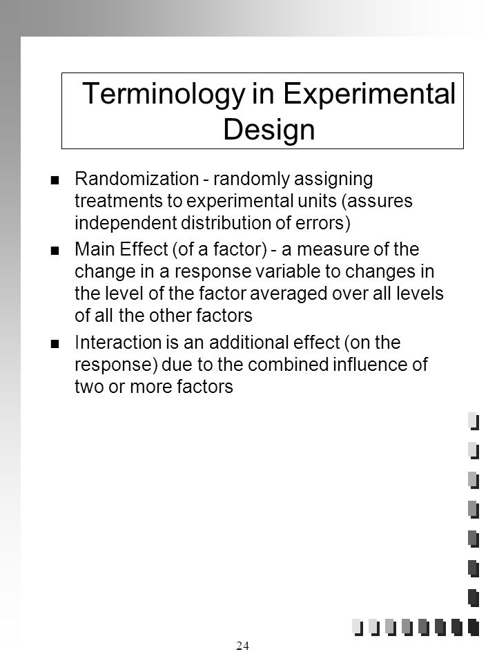 Terminology in Experimental Design