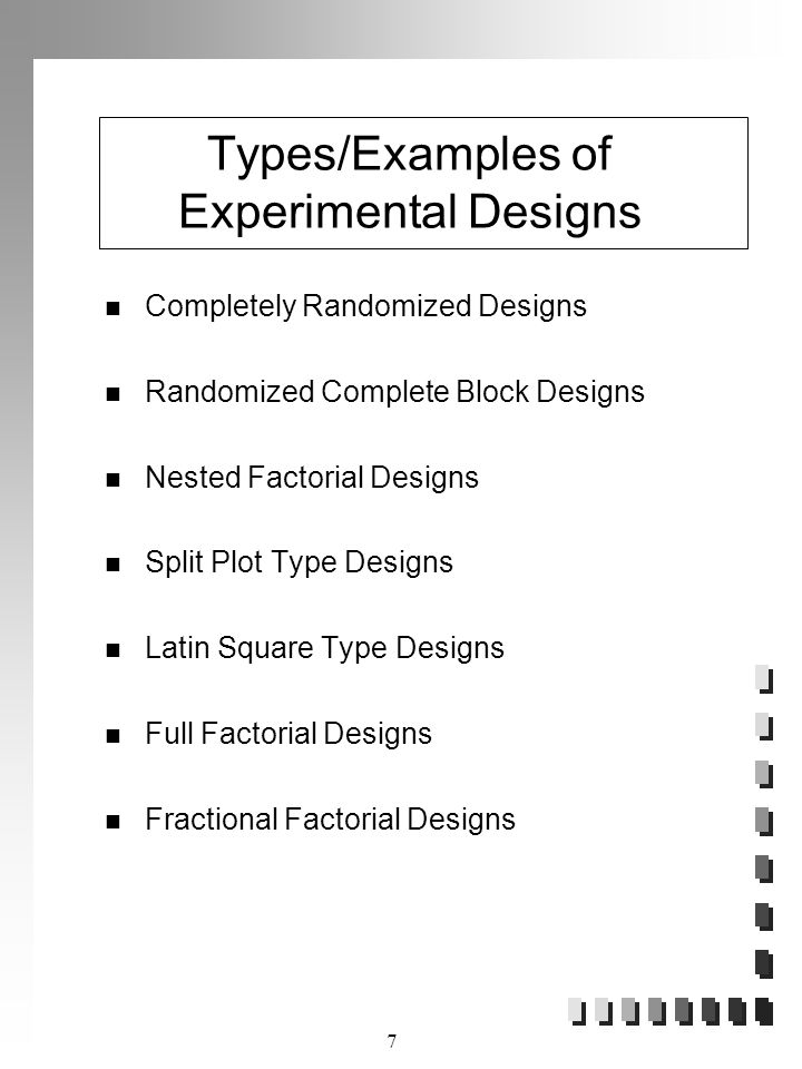 Types/Examples of Experimental Designs