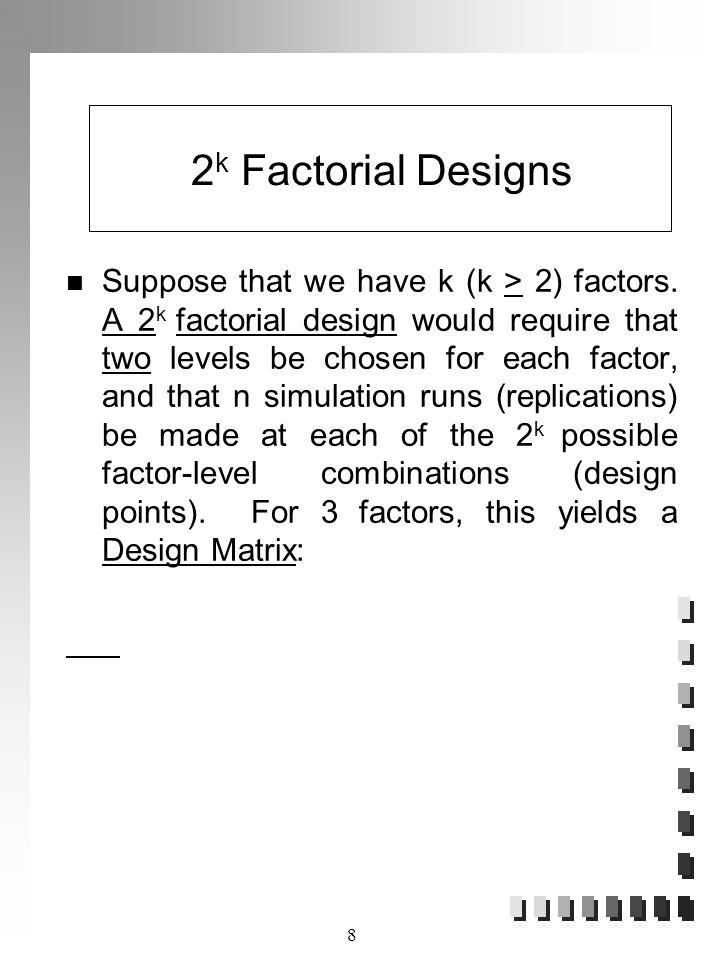 2k Factorial Designs