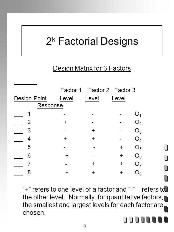 Design Matrix for 3 Factors