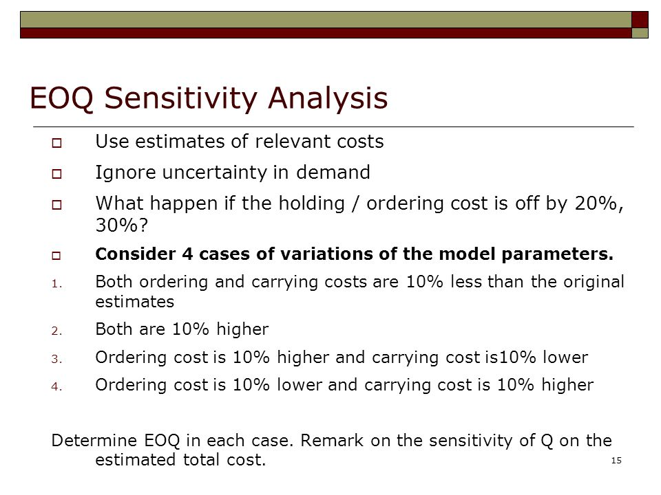 EOQ Sensitivity Analysis
