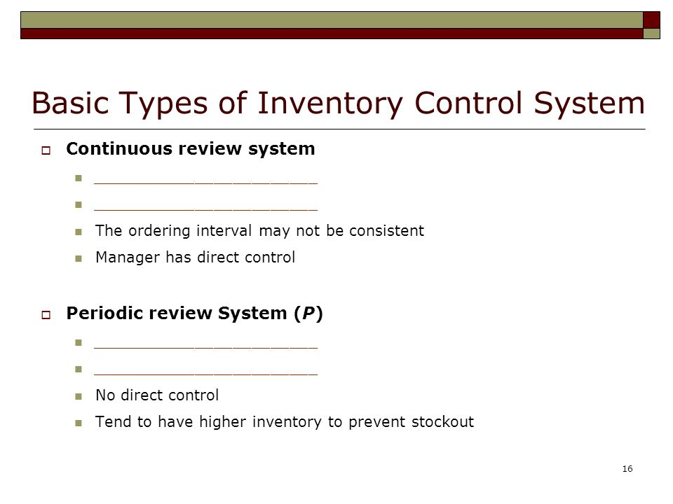 Basic Types of Inventory Control System