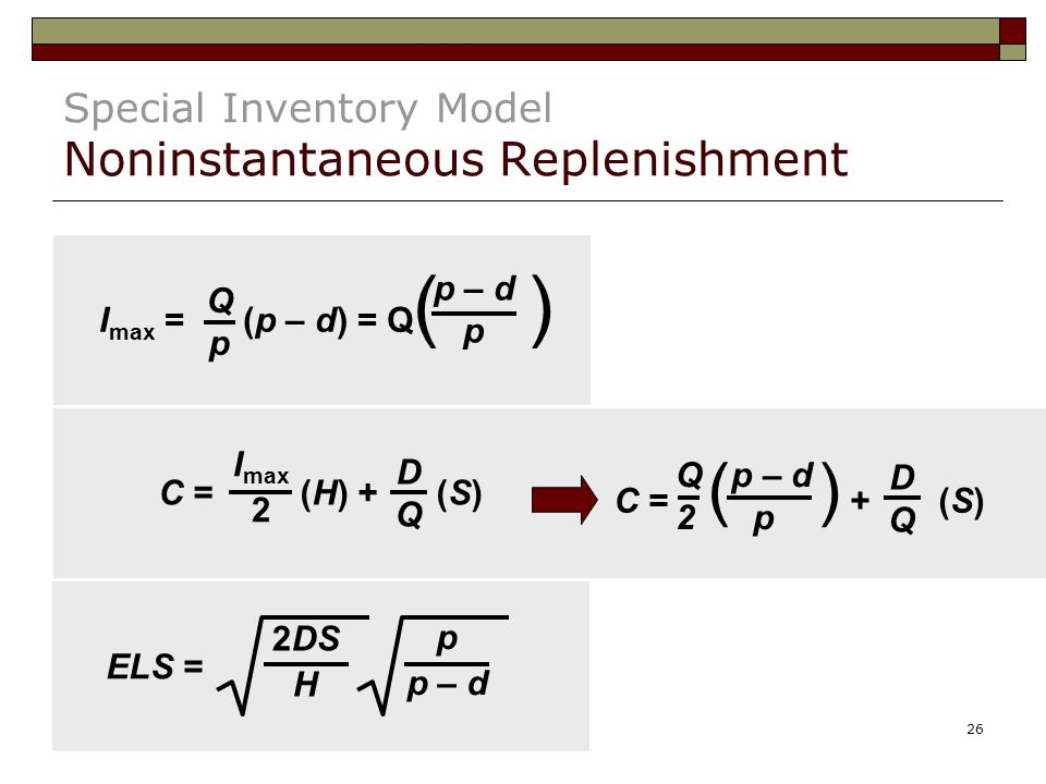 Special Inventory Model Noninstantaneous Replenishment