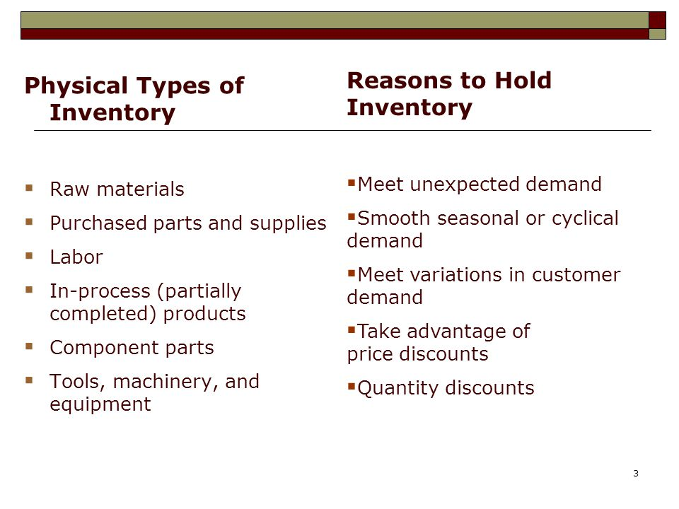 Reasons to Hold Inventory Physical Types of Inventory