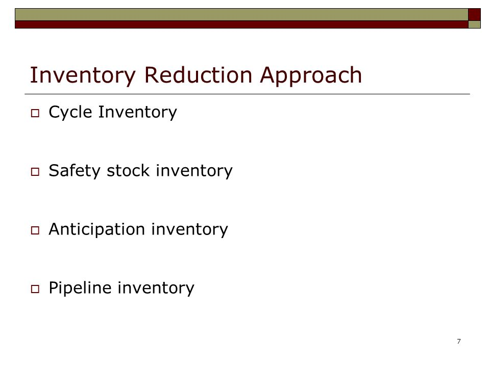 Inventory Reduction Approach