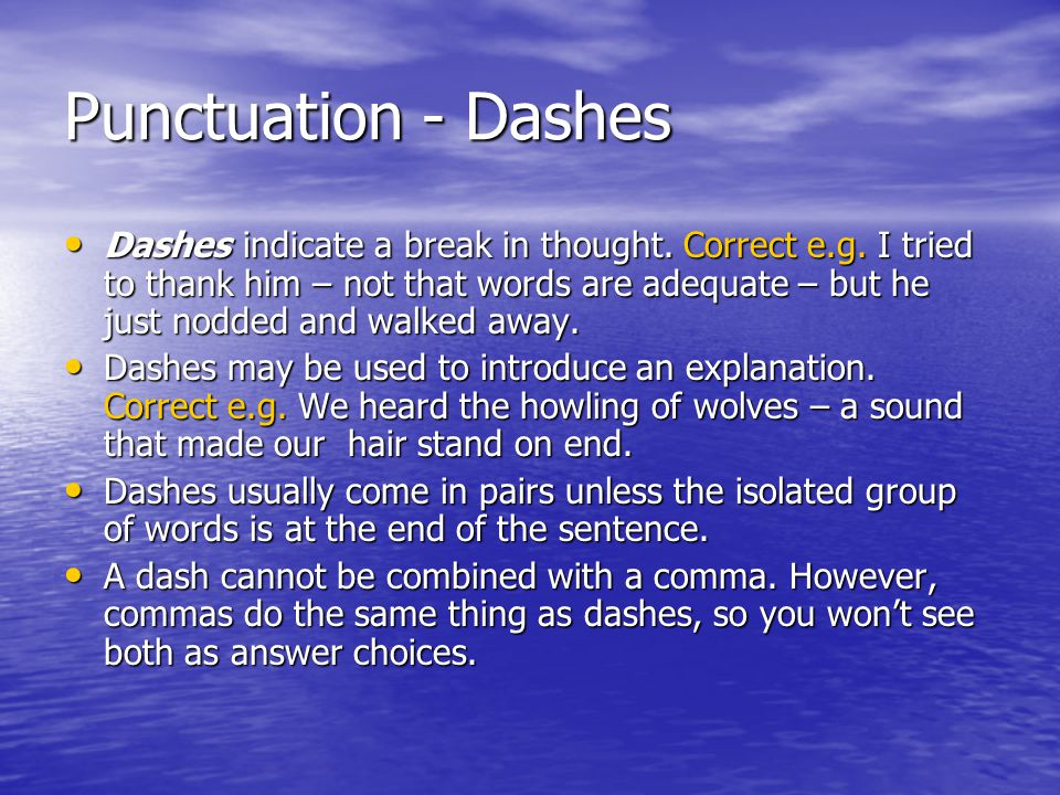 Punctuation - Dashes