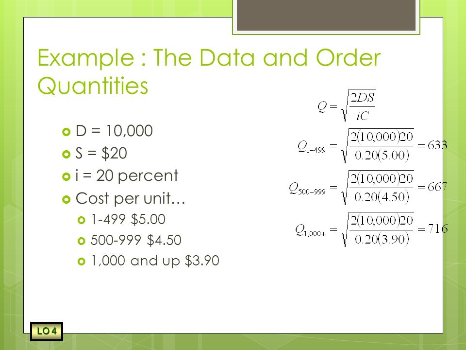 Example : The Data and Order Quantities