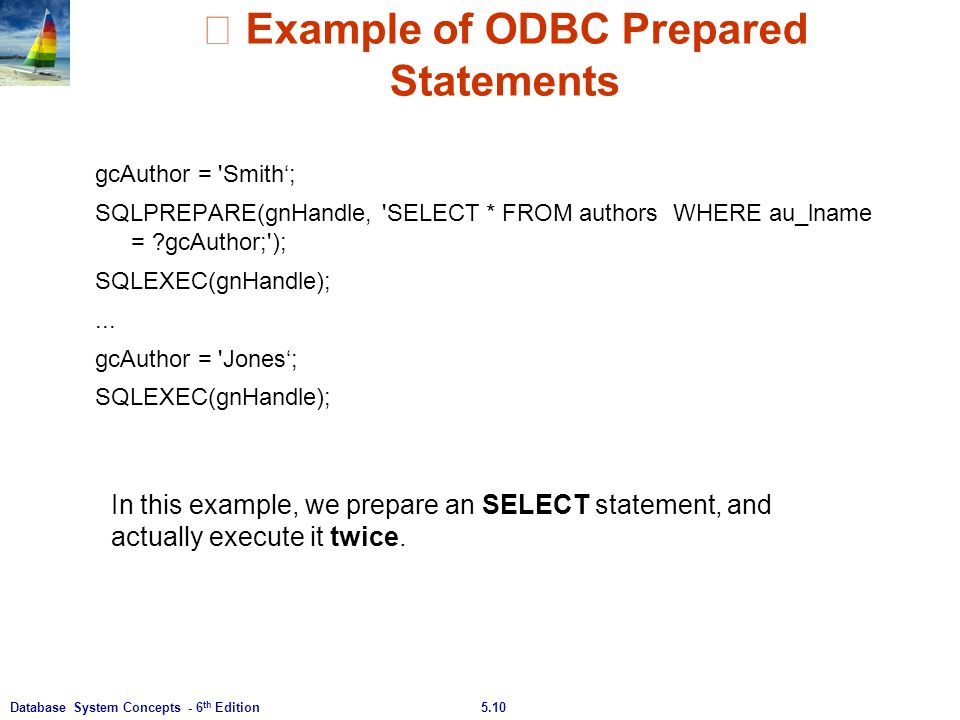 ※ Example of ODBC Prepared Statements