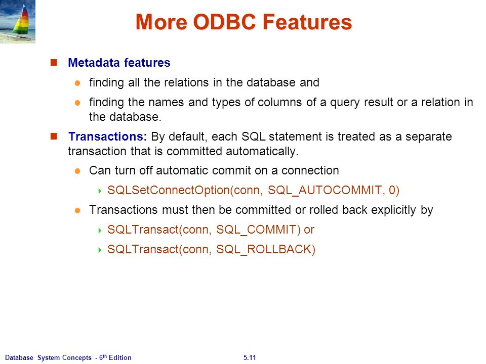 More ODBC Features Metadata features