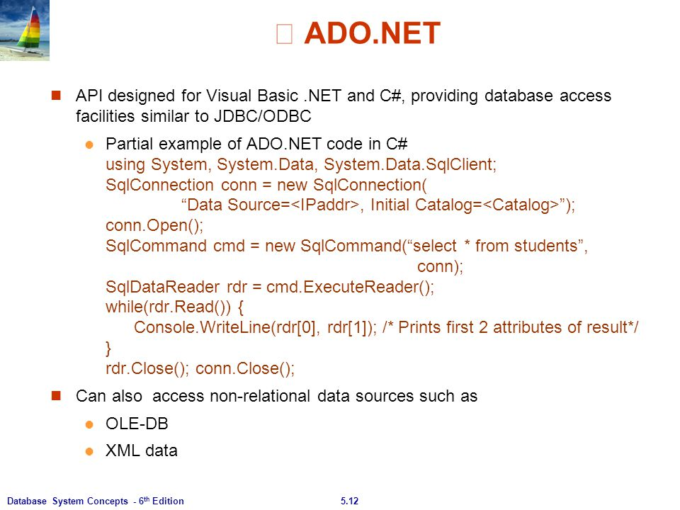 ※ ADO.NET API designed for Visual Basic .NET and C#, providing database access facilities similar to JDBC/ODBC.