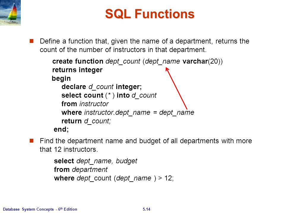 SQL Functions Define a function that, given the name of a department, returns the count of the number of instructors in that department.
