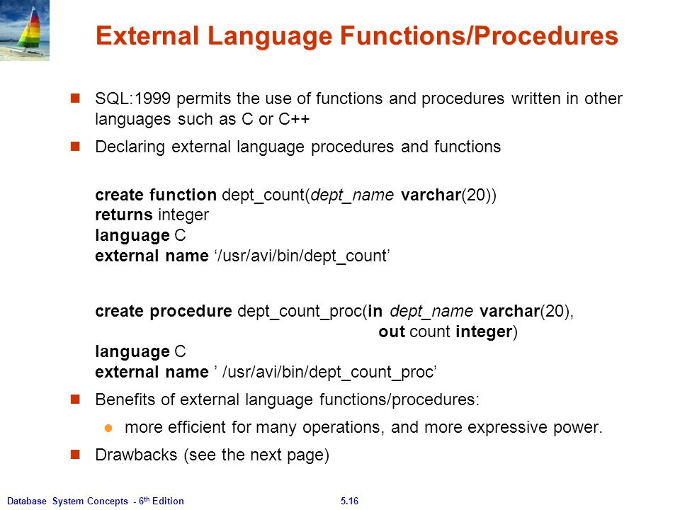 External Language Functions/Procedures