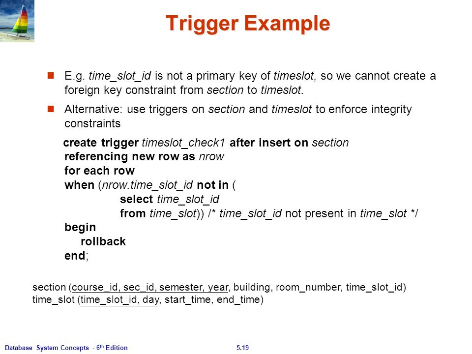 Trigger Example E.g. time_slot_id is not a primary key of timeslot, so we cannot create a foreign key constraint from section to timeslot.