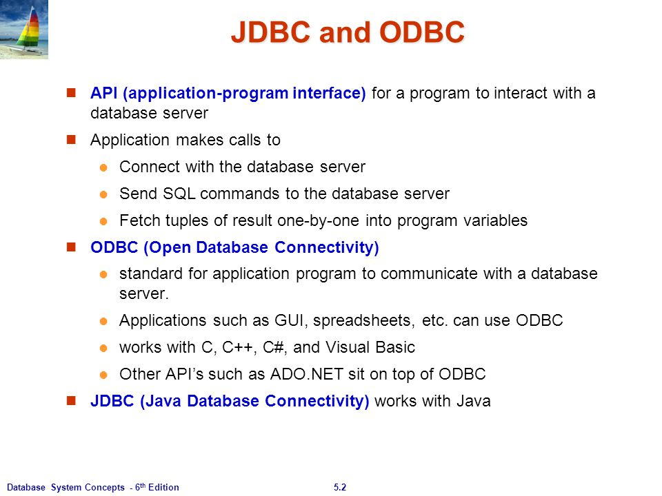 JDBC and ODBC API (application-program interface) for a program to interact with a database server.