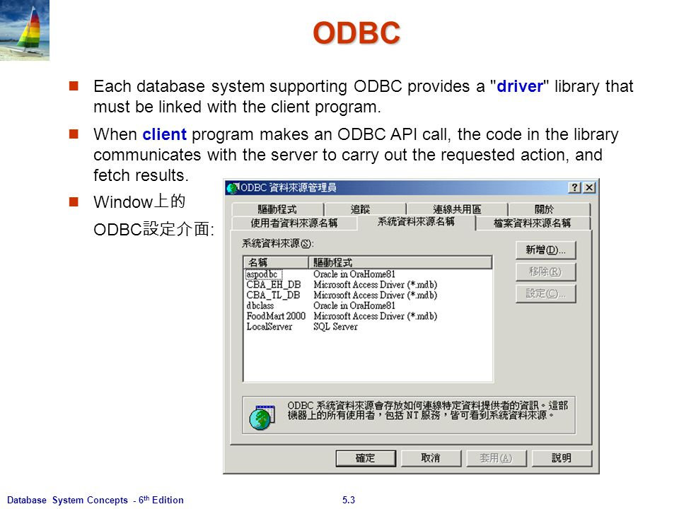 ODBC Each database system supporting ODBC provides a driver library that must be linked with the client program.