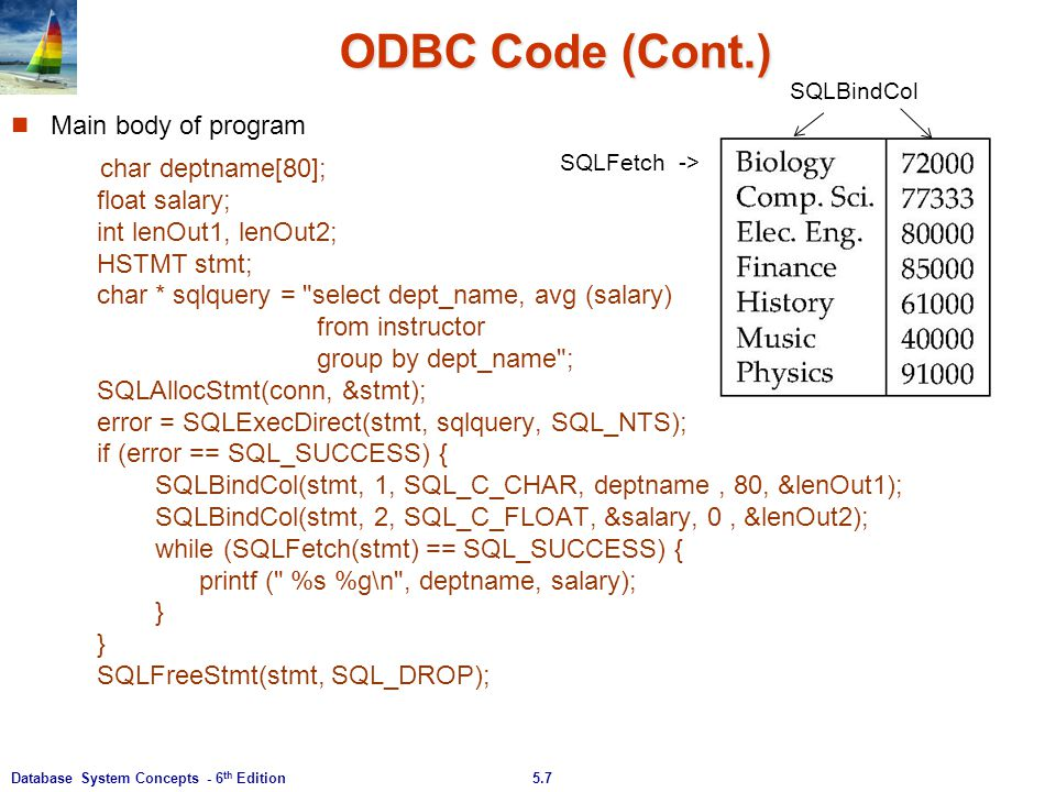 ODBC Code (Cont.) Main body of program